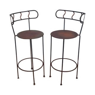 Vintage Distressed Industrial Metal Bar Stools