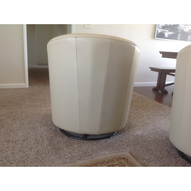 Image of Natuzzi Beige Leather Swivel Chairs - A Pair