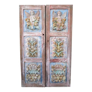 19th C. Spanish Carved Painted Doors - Pair