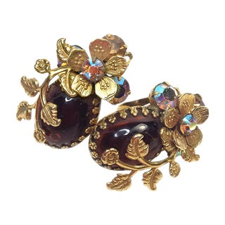 Regency Amber Glass Floral Earrings