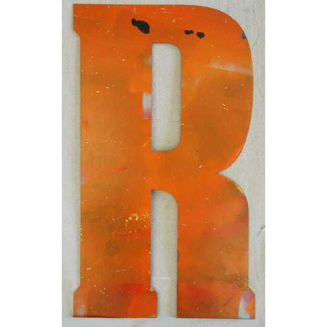 Large Orange Salvage Metal Marquee Letter 'R' - Image 3 of 3