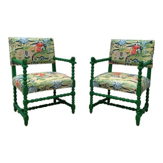 Vintage Emerald Lacquered Dragon Chairs - A Pair
