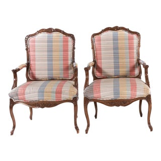 French Louis XV Style Carved Open Armchairs - A Pair