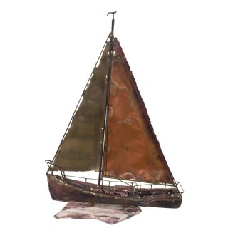 Mid-Century Brutalist Sail Boat Sculpture