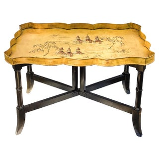 Vintage Chinoiserie Tole Tray Table With Folding Base