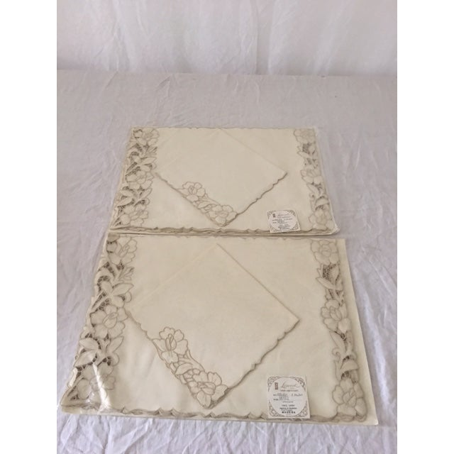 Vintage linen embroidered placemats napkins set of