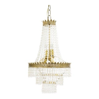 Three Tiered Empire Style Crystal Chandelier