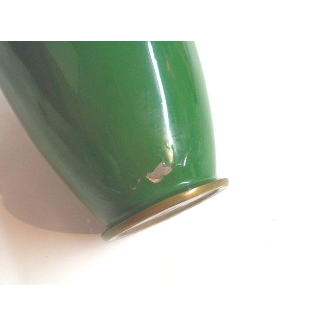 Green Enamelled Chinoiserie Brass Vase - Image 5 of 5