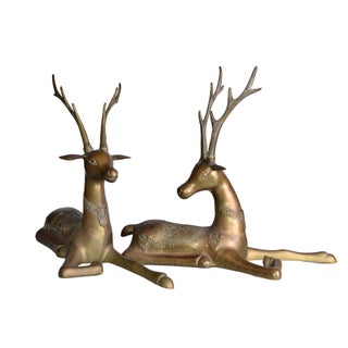Vintage Brass Deer Bookends - A Pair