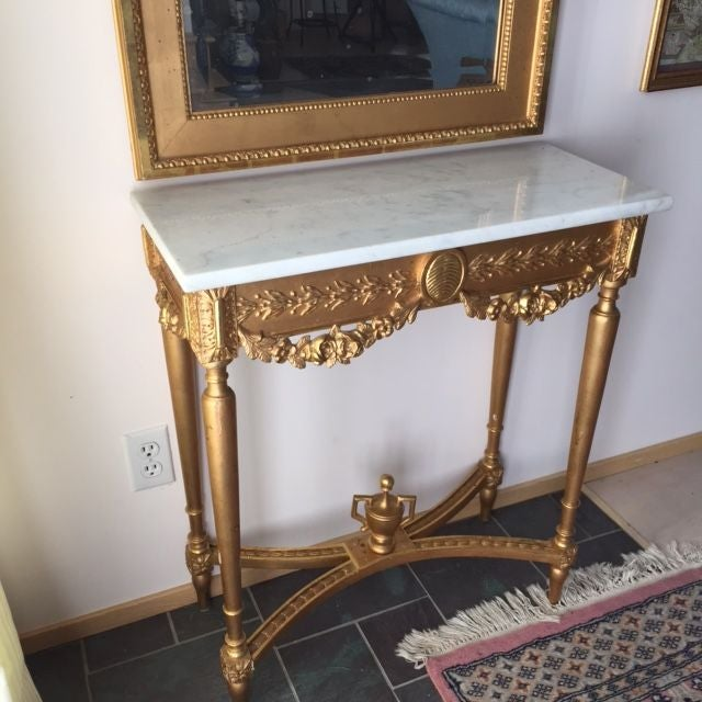 1915 Antique Guilt Wall Mirror & Console Table Set - Image 10 of 11