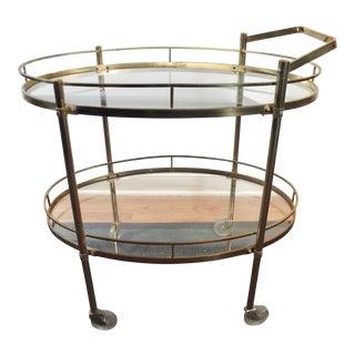 Mid-Century Solid Brass Vintage Bar Cart