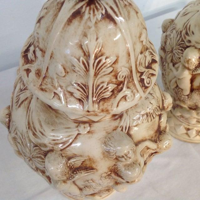 Majolica Porcelain Cherub Relief Lamps - Pair - Image 8 of 9