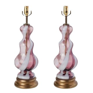 Murano Glass Purple & White Table Lamps - A Pair
