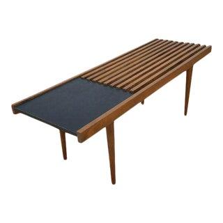 Mid-Century Modern Wooden Slat Bench