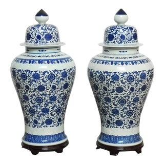 Chinese Blue & White Porcelain Temple Ginger Jars - A Pair