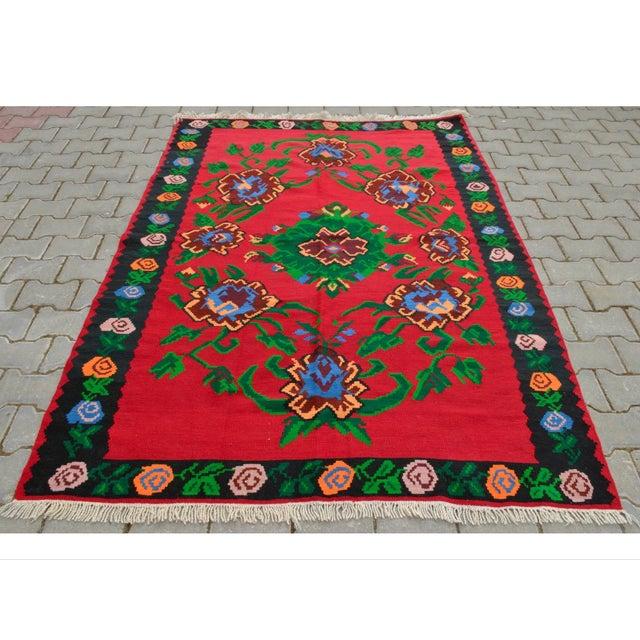 Turkish Hand-Woven Wool Kilim Rug - 5′3″ × 7′5″ - Image 2 of 8
