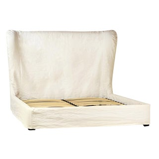 White Fabric Bed Frame Queen