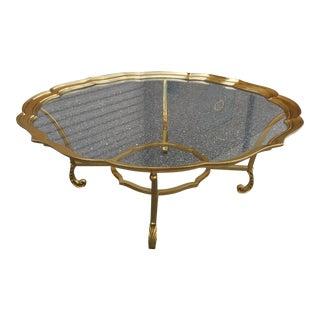 Vintage Hollywood Regency Labarge Brass & Glass Coffee Table