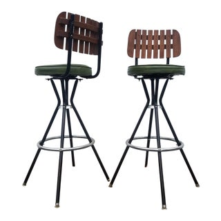 Mid-Century Modern Wood Metal Green Bar Stools - a Pair
