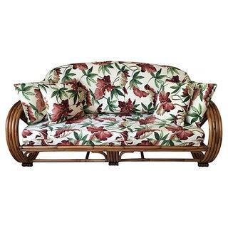 Paul Frankl Style Round Pretzel Rattan Sofa