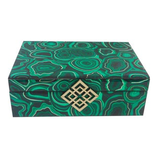 Hollywood Regency Faux Malachite Decorative Box