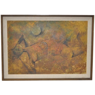 Reclining Figure Vintage Cubist Painting C.1950s