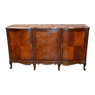 Vintage French Carved & Inlaid Marble Top Sideboard