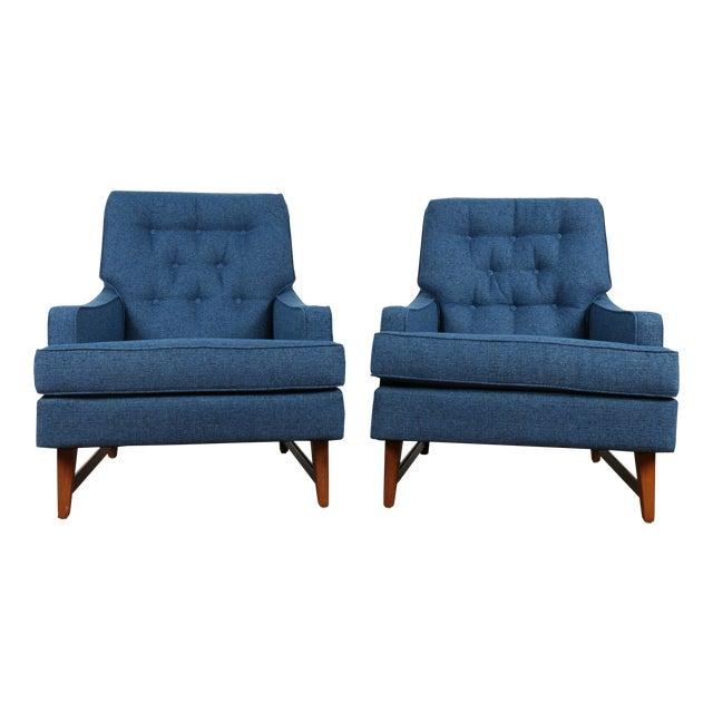 Mid-Century Blue Tufted Lounge Chairs - A Pair - Image 1 of 7