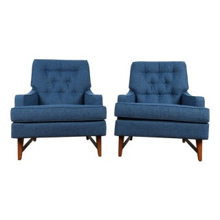 Mid-Century Blue Tufted Lounge Chairs - A Pair