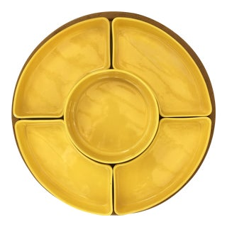 Vintage Yellow Lazy Susan With Turning Pedestal