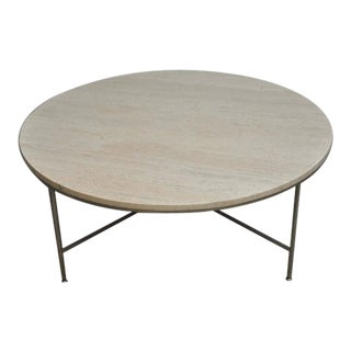 Paul McCobb Travertine and Nickel Coffee Table