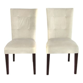 Ivory Microsuede Side Chairs - A Pair