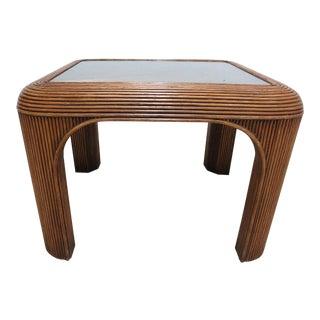 Vintage Mid Century Rattan Split Reed Parsons End Table