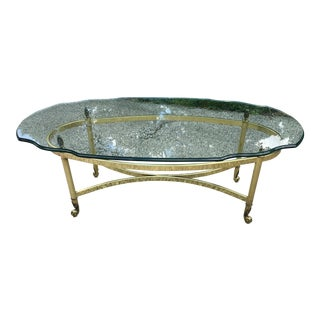 Glass & Brass Hollywood Regency Style Coffee Table