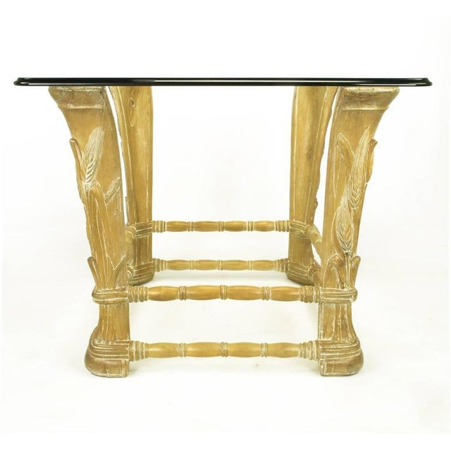 Limed Alder Center Table with Carved Wheat Relief and Glass Top - Image 3 of 10