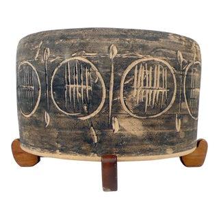 Jane And Gordon Martz Incised Ceramic Studio Pottery Planter with Original Stand