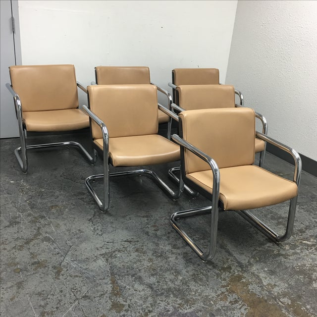 Krueger Leather & Chrome Chairs - Set of 6 - Image 3 of 8