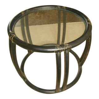 McGuire Rattan Bamboo Glass Top End / Lamp Table