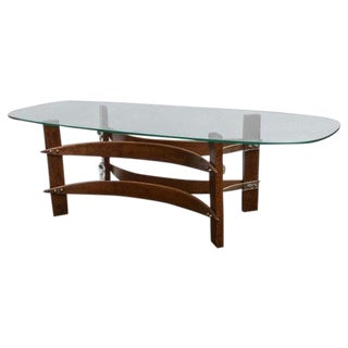 Mid-Century Curved Wood & Lucite Coffee Table