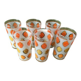 Mid-Century Orange High Ball Glasses - Set of 6