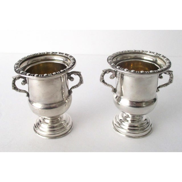 Image of Traditional Antique 900 Silver Mini-Urns - A Pair