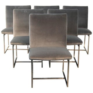 Chrome and Velvet Milo Baughman Style Dining Chairs - Set of 6