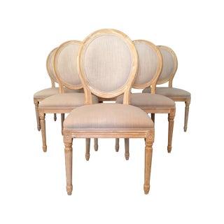 Louis XVI Linen Medallion Side Chairs - Set of 6