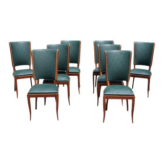 C. 1940 French Art Deco Mahogany Dining Chairs - Set of 3