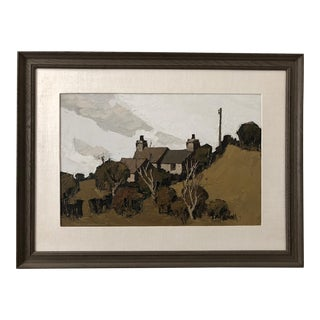 Framed Farmhouse Oil Painting by Gerrard