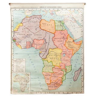 Vintage Classroom Pull Down Map of Africa