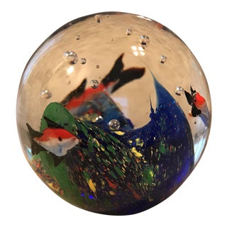 Fish Aquarium Art Glass Paperweight