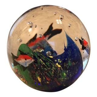 Fish Aquarium Art Glass Paperweight