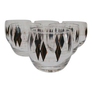 Mid-Century Modern Atomic Harlequin Roly Poly Glasses - Set of 6