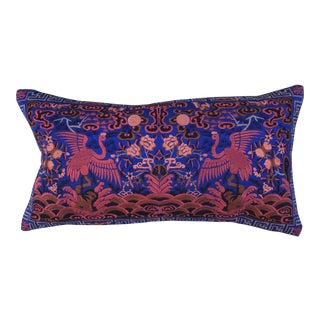Hollywood Regency Blue & Pink Asian Chinoiserie Boudoir Pillow